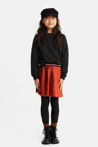 WE Fashion plissé rok met glitters donkeroranje/zwart/oranje, Donkeroranje/zwart/oranje