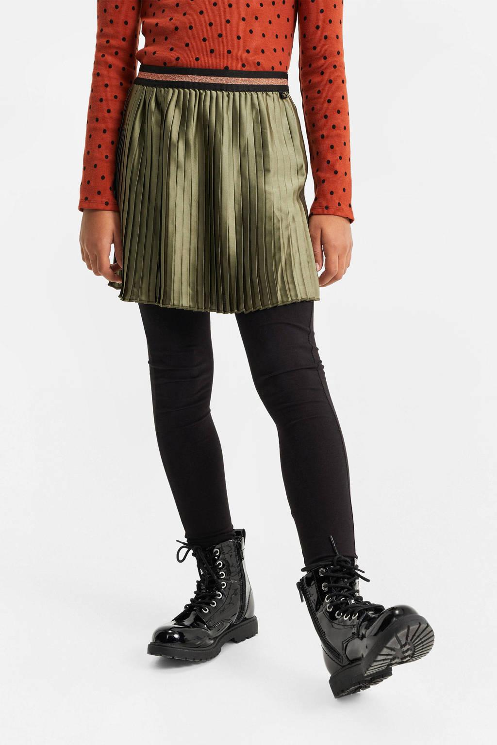 WE Fashion plissé rok met glitters olijfgroen/roze, Olijfgroen/roze