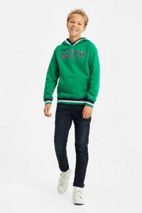 WE Fashion regular fit sweater groen/donkerblauw/wit, Groen/donkerblauw/wit