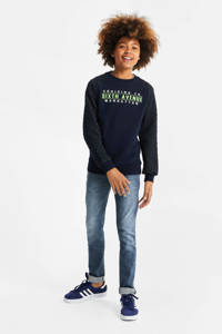 WE Fashion sweater met tekst donkeblauw, Donkeblauw