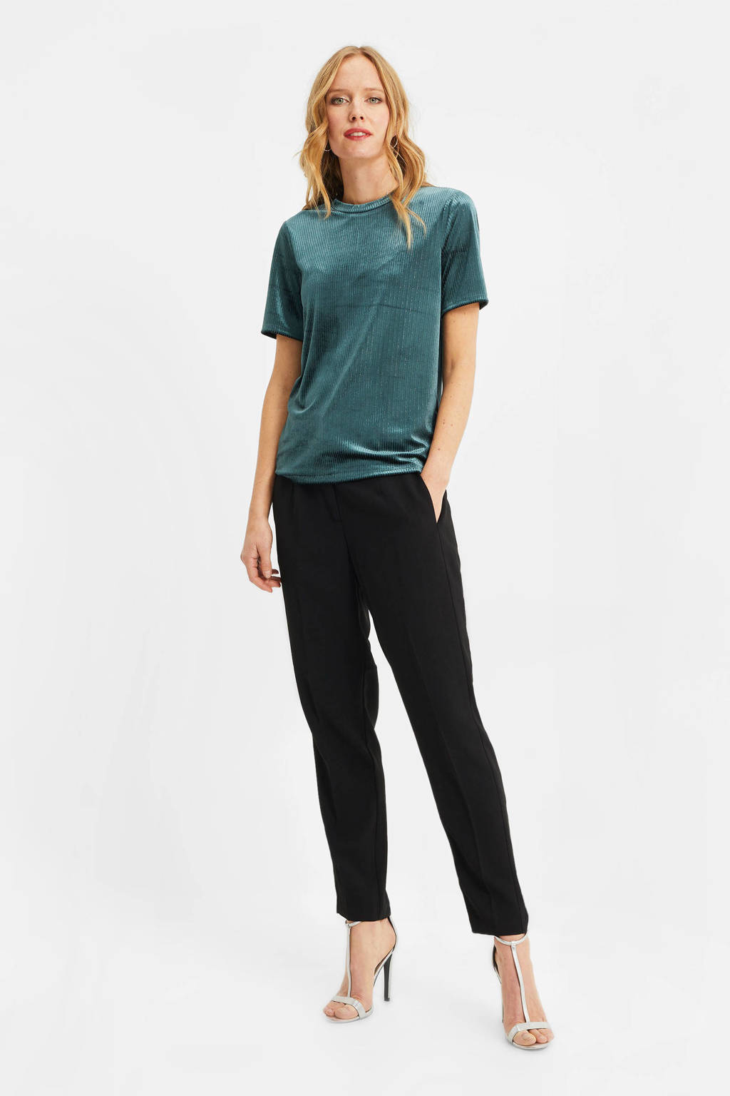 WE Fashion fluwelen T-shirt dark green, Dark Green