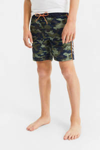 WE Fashion zwemshort met camouflageprint groen/donkerblauw, Groen/donkerblauw