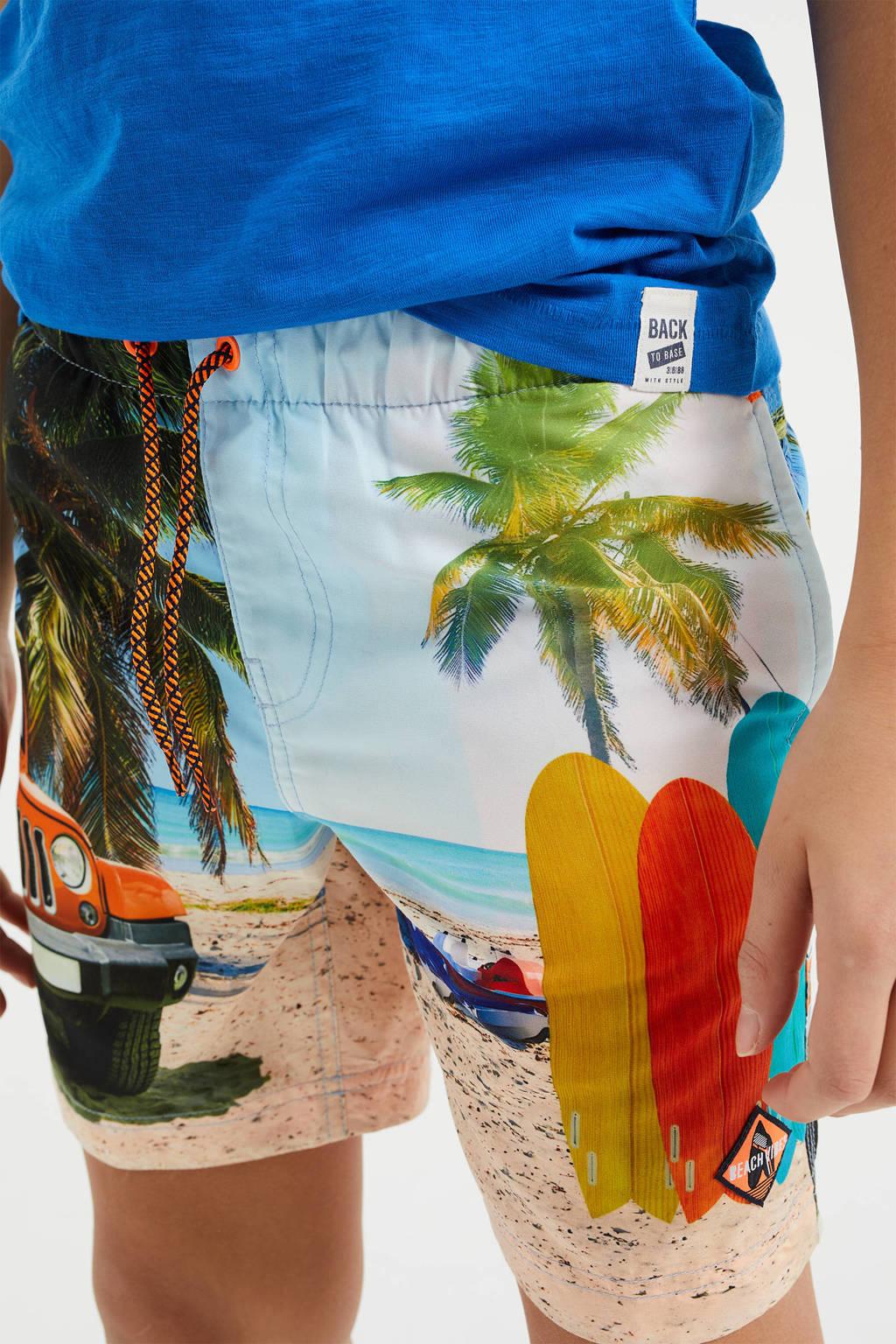 WE Fashion zwemshort met all over print lichtblauw/multi, Lichtblauw/multi