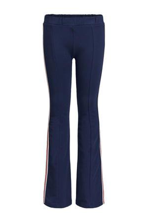 legging met zijstreep donkerblauw/wit