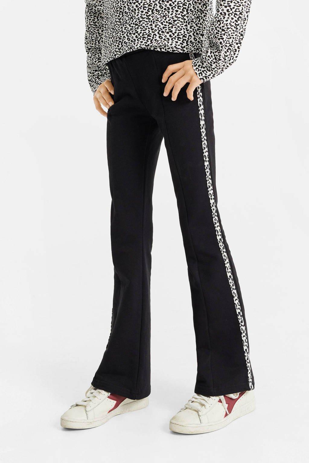 WE Fashion skinny fit flared legging zwart/wit, Zwart/wit