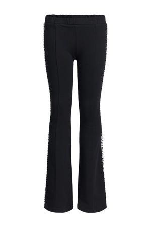 skinny fit flared legging zwart/wit