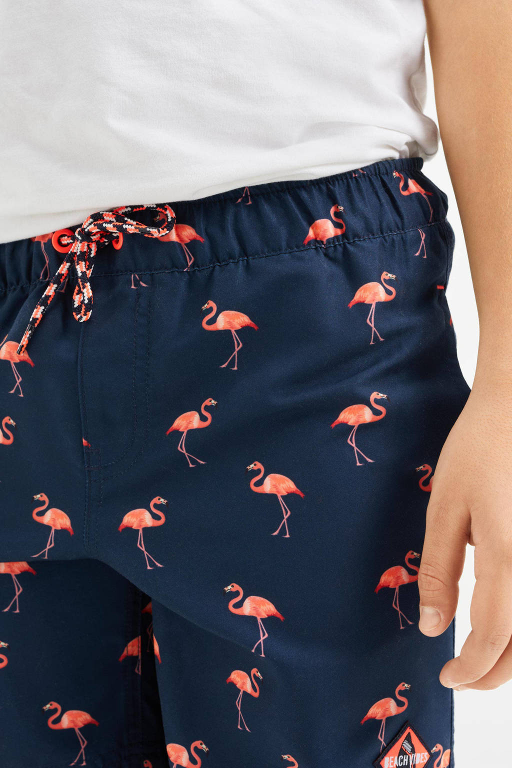 WE Fashion zwemshort met flamingoprint donkerblauw, Donkerblauw