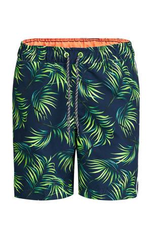 zwemshort met all over print donkerblauw/groen