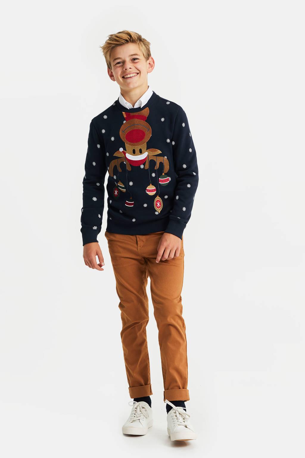 WE Fashion kersttrui met printopdruk donkerblauw/wit/rood, Donkerblauw/wit/rood