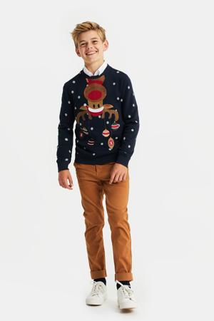kersttrui met printopdruk donkerblauw/wit/rood