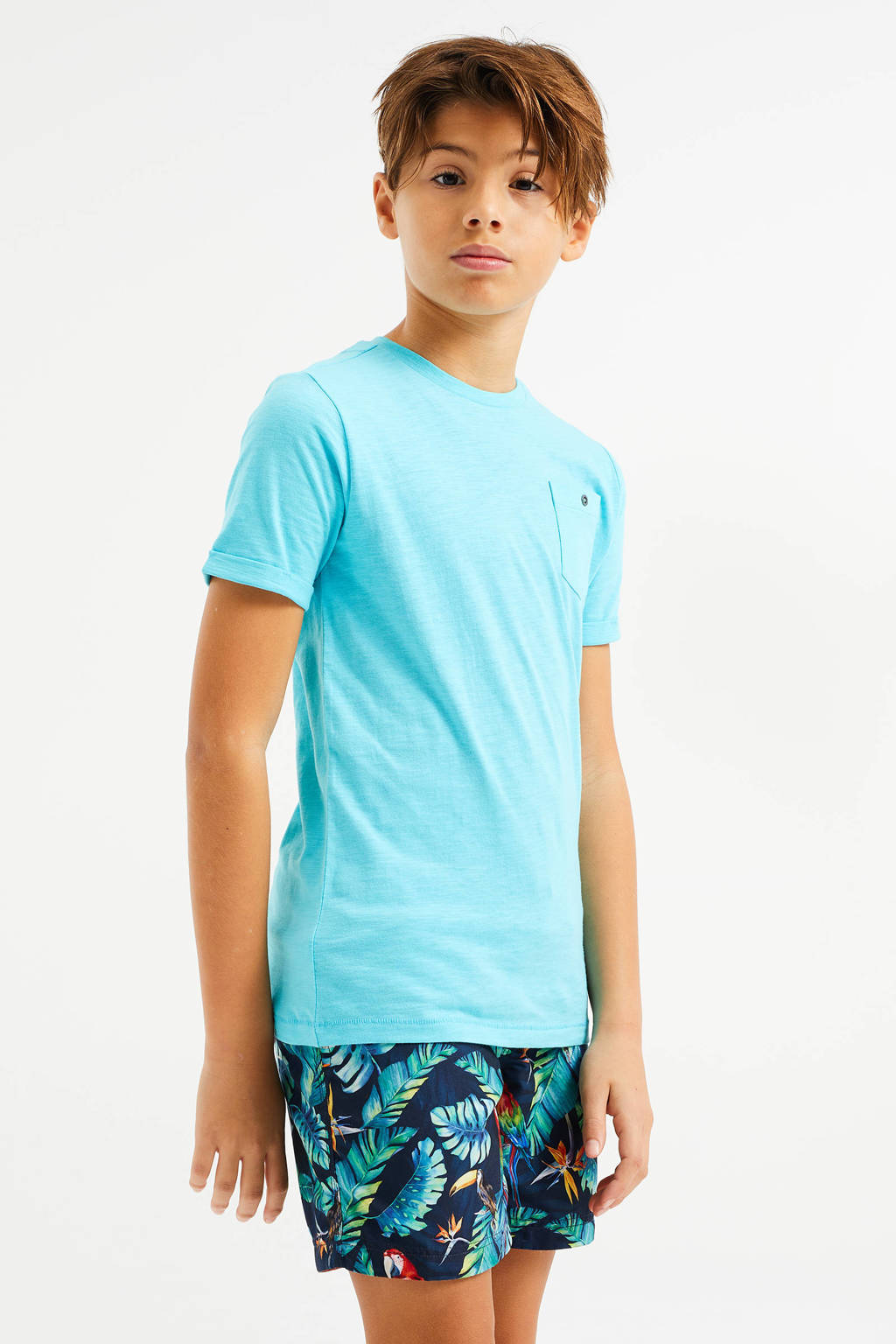 WE Fashion zwemshort met all over print donkerblauw/lichtblauw, Donkerblauw/lichtblauw