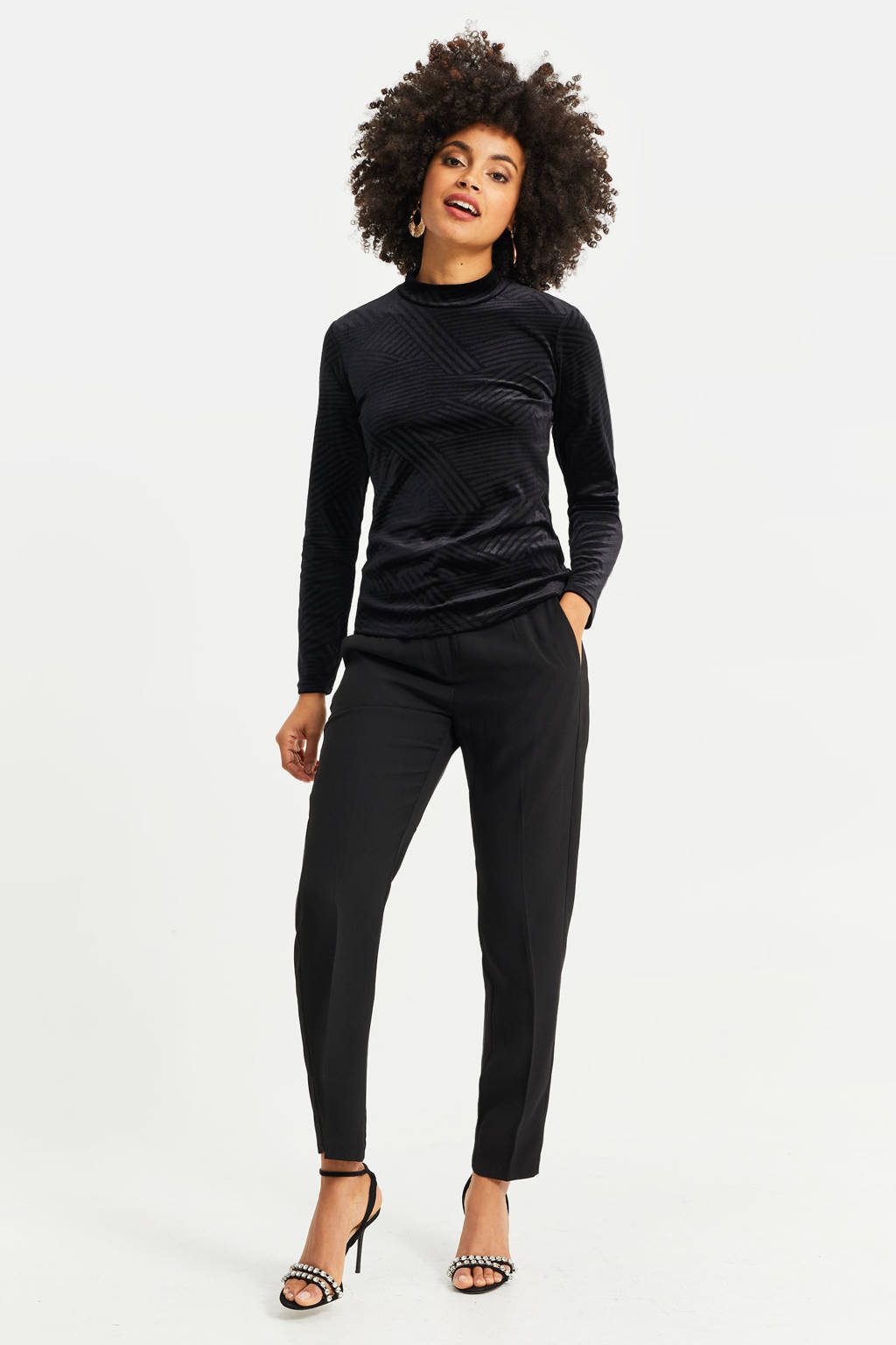 WE Fashion fluwelen top black uni, Black Uni
