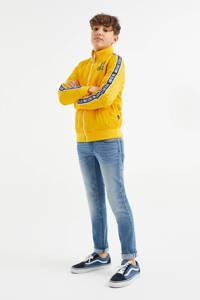 WE Fashion windjack met contrastbies okergeel, Okergeel