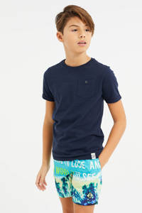 WE Fashion zwemshort met all over print turquoise, Turquoise
