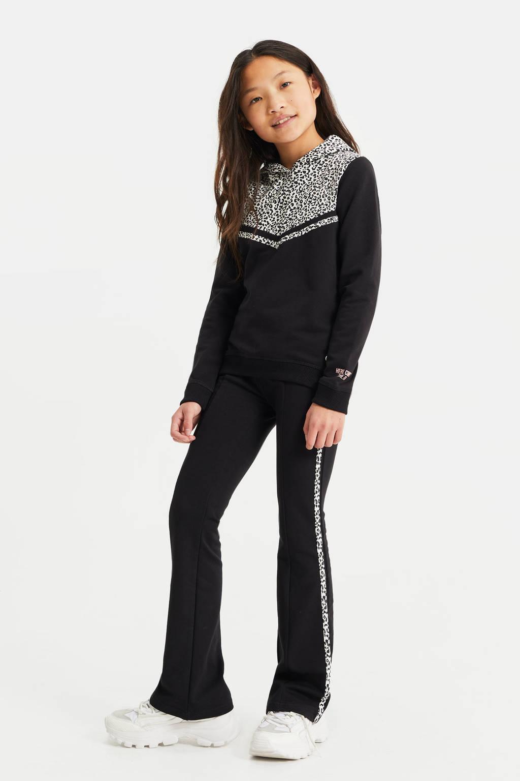 WE Fashion hoodie met dierenprint zwart/wit, Zwart/wit