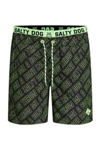 WE Fashion Salty Dog zwemshort met all over print zwart/groen, Zwart/groen