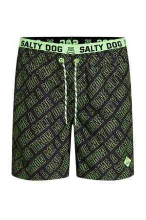 zwemshort met all over print zwart/groen