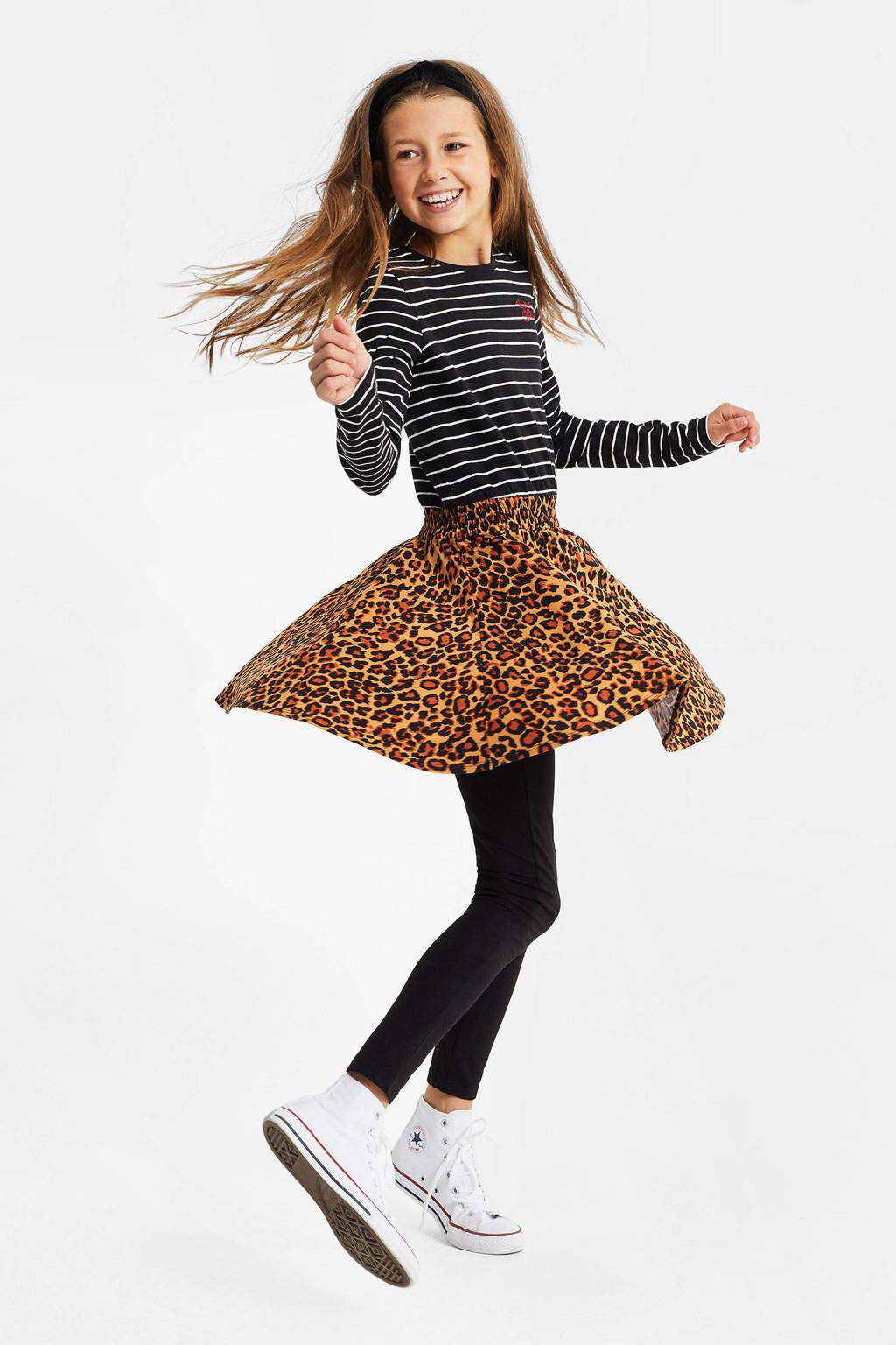 WE Fashion jurk met all over print zwart/bruin, Zwart/bruin