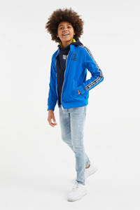 WE Fashion windjack met contrastbies hardblauw, Hardblauw