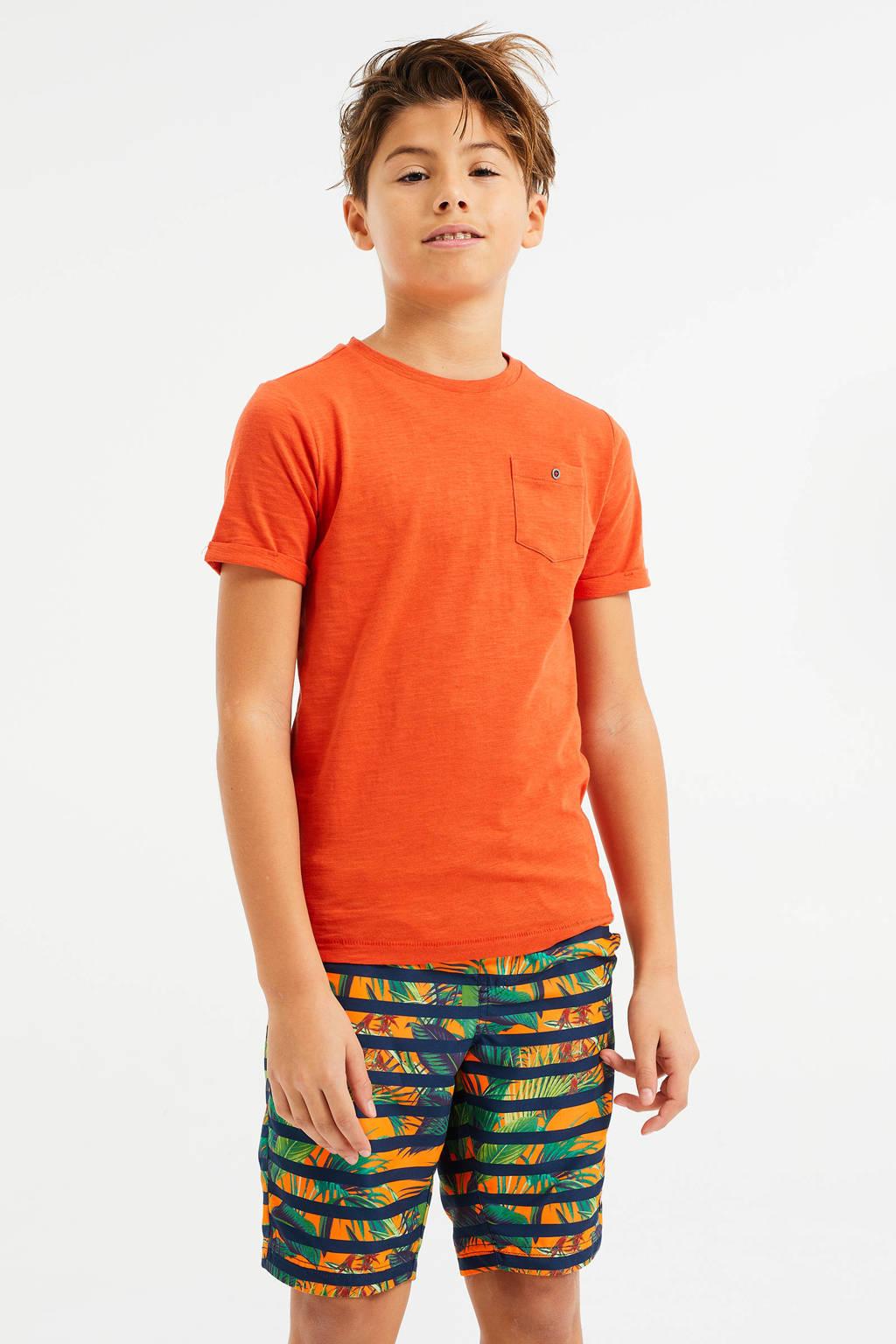 WE Fashion zwemshort met all over print oranje/groen, Oranje/groen