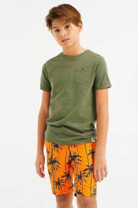 WE Fashion zwemshort met palmbomenprint oranje/zwart, Oranje/zwart