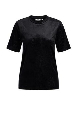 fluwelen T-shirt black uni