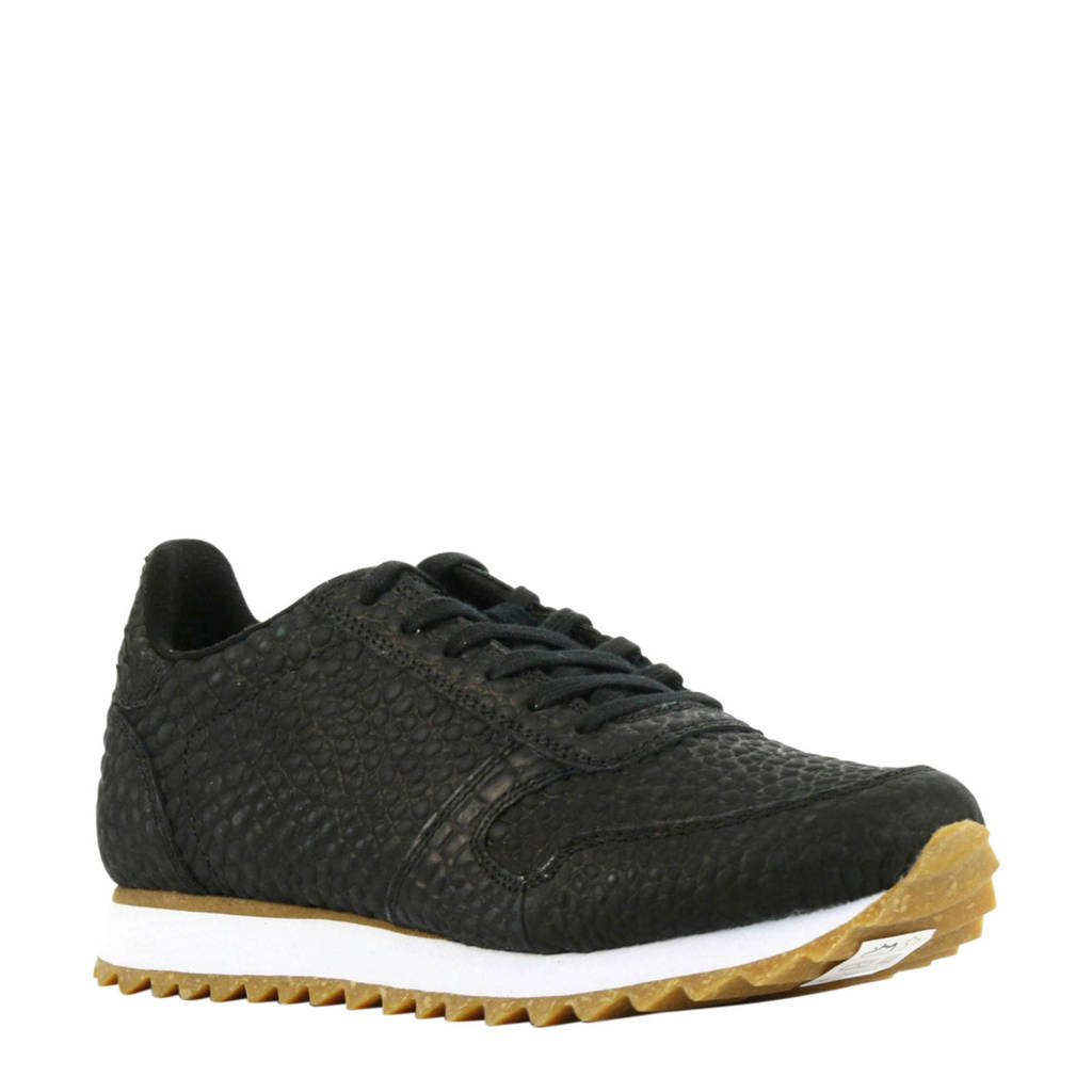 Woden Ydun Croco II  leren sneakers crocoprint zwart, Zwart