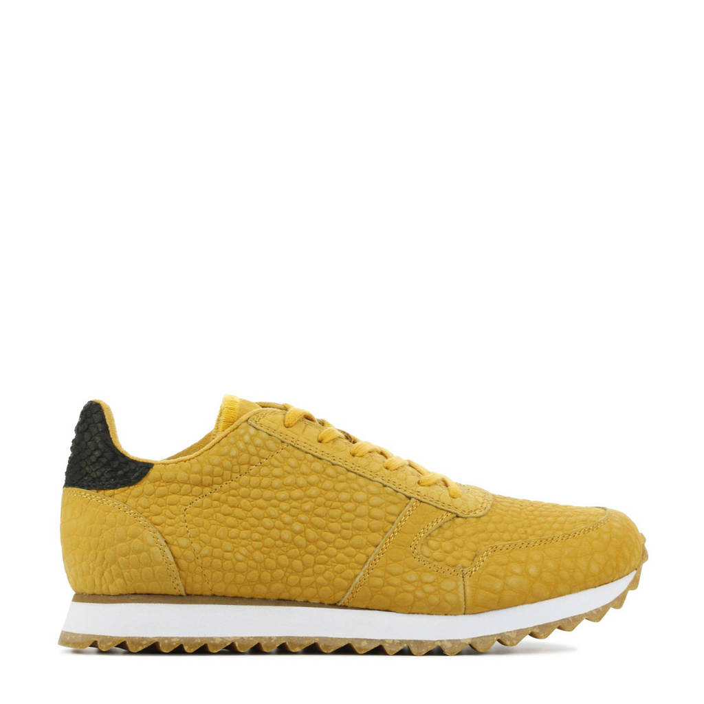 Woden Ydun Croco II  leren sneakers crocoprint okergeel, Okergeel