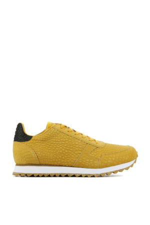 Ydun Croco II  leren sneakers crocoprint okergeel
