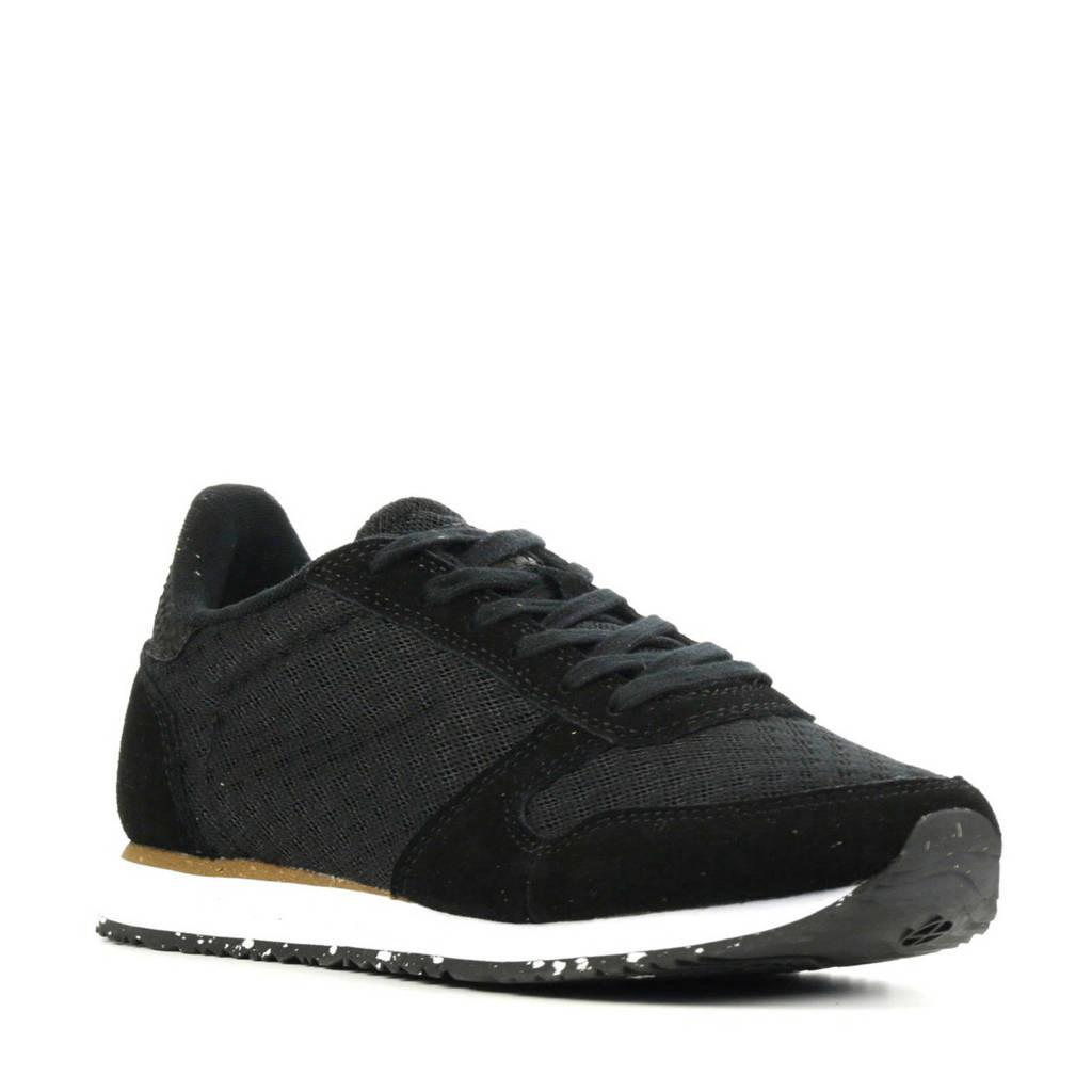 Woden Ydun Sue Mesh II  suède sneakers zwart, Zwart