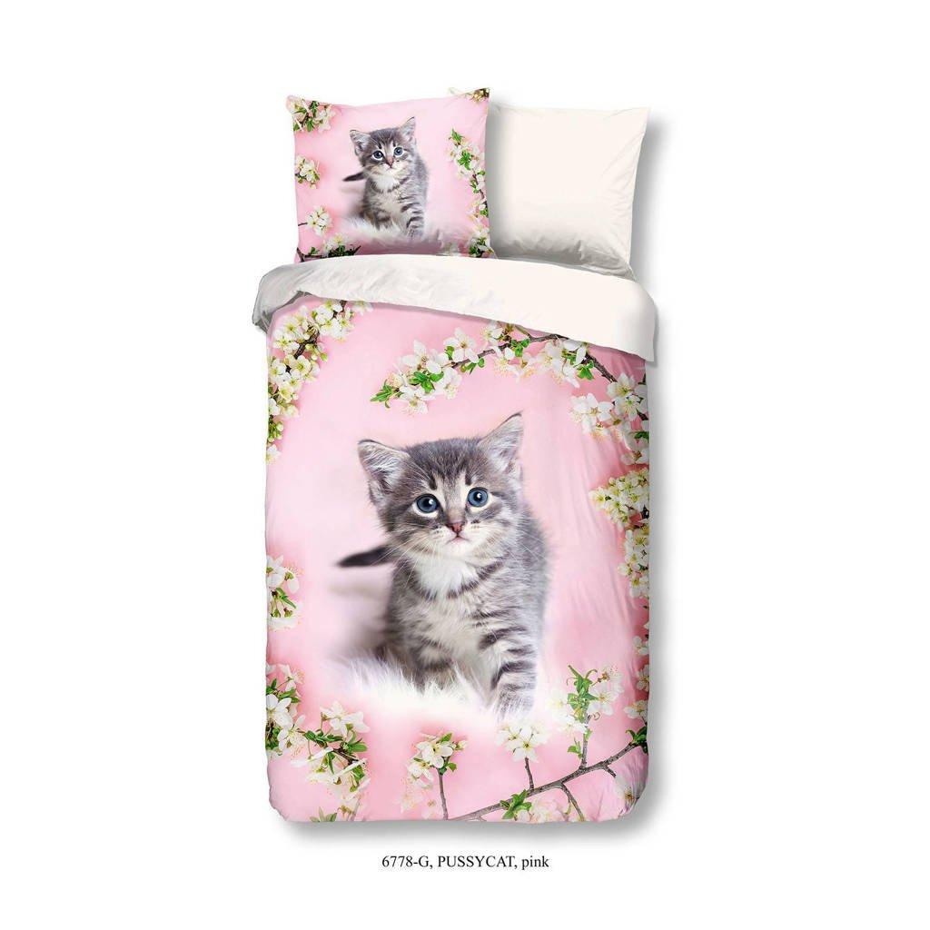 Good Morning katoenen kinderdekbedovertrek Pussycat, Roze