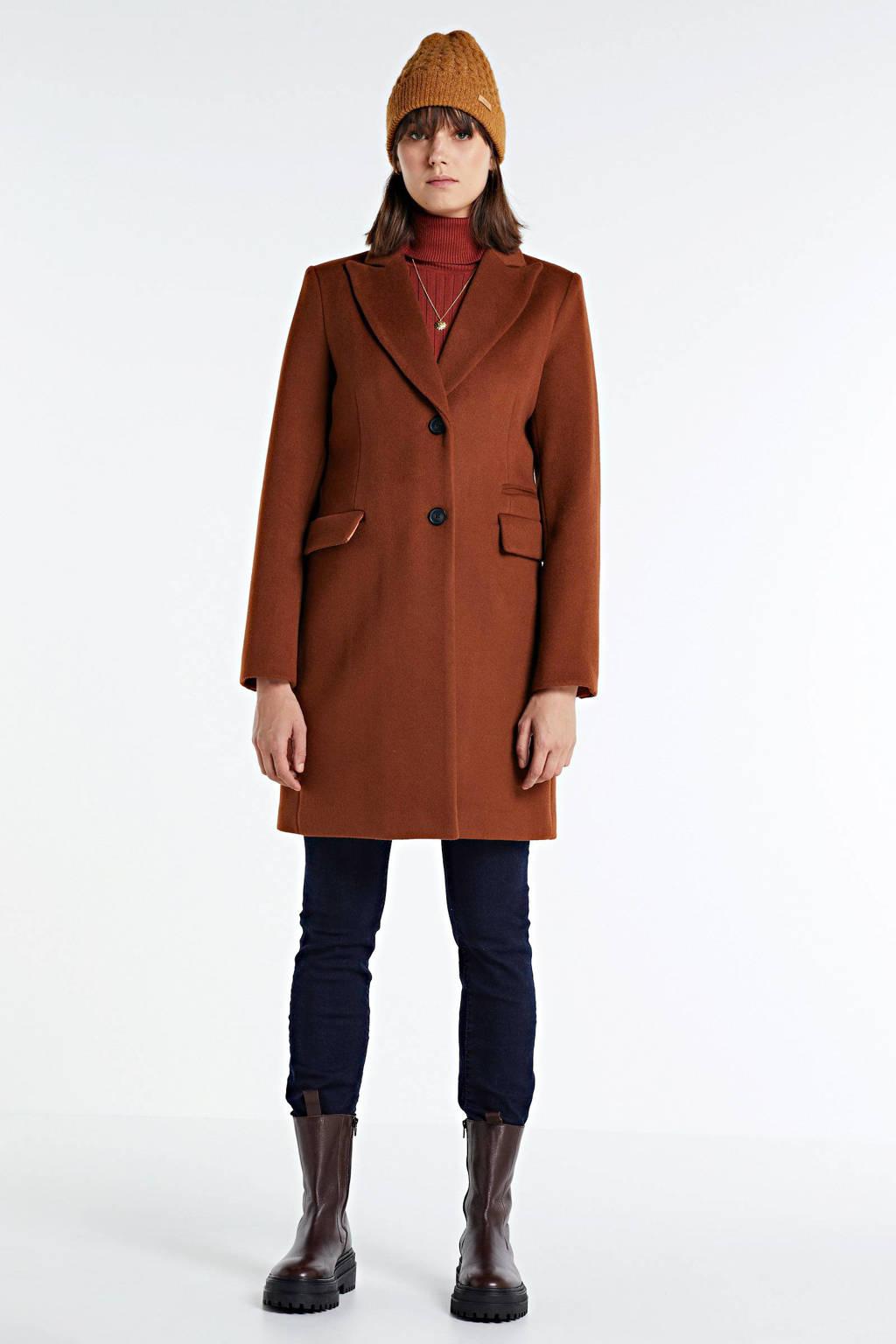 Giacomo coat met wol dark cognac, Dark cognac