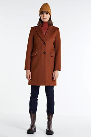 coat met wol dark cognac