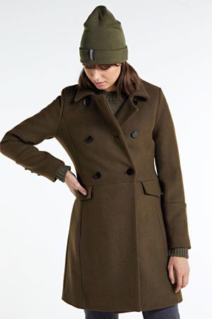 coat met wol lava green