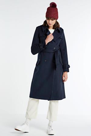 coat met wol dark navy