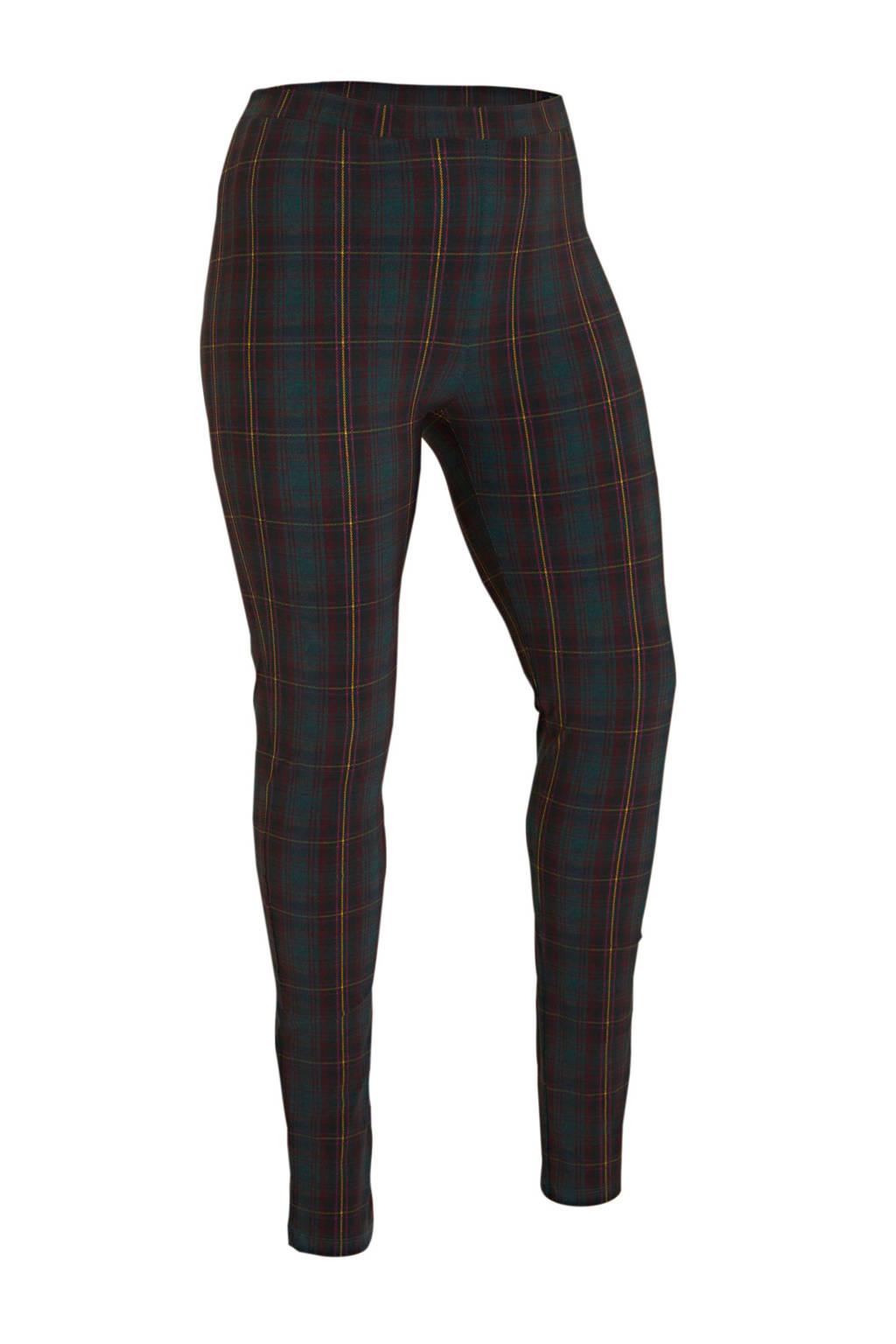 Plus Basics geruite legging in travelstof donkergroen/rood/geel, Donkergroen/rood/geel