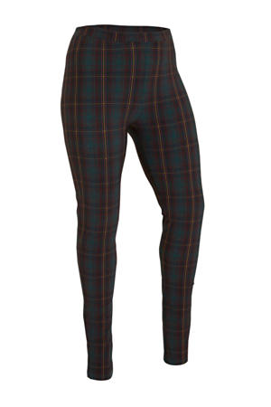 geruite legging in travelstof donkergroen/rood/geel