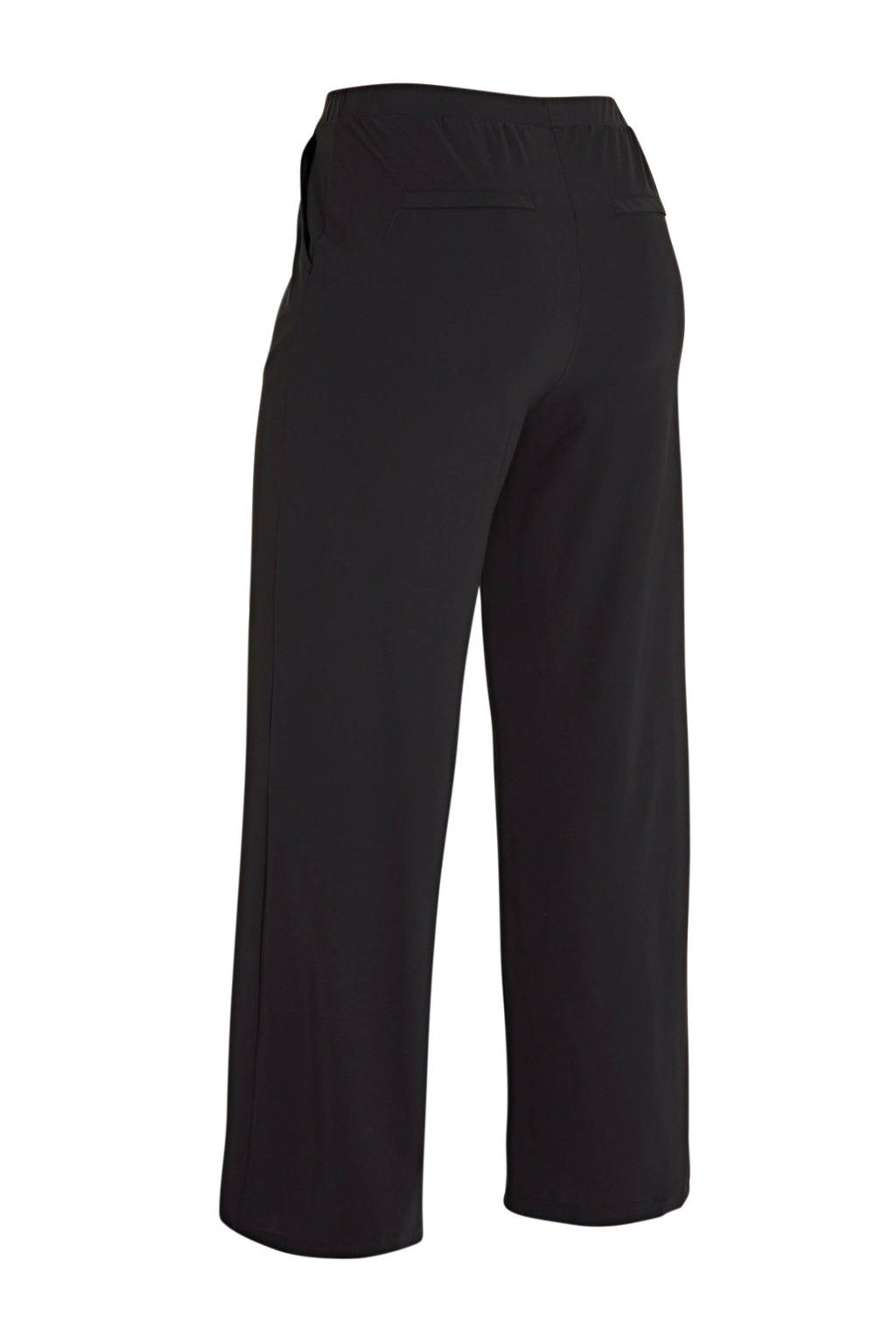 Plus Basics loose fit broek in travelstof zwart, Zwart