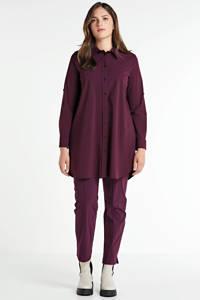 Plus Basics blouse van travelstof donkerrood, Donkerrood