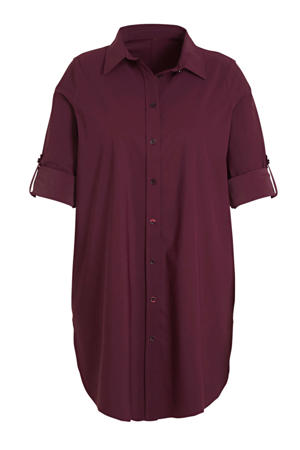 blouse van travelstof donkerrood