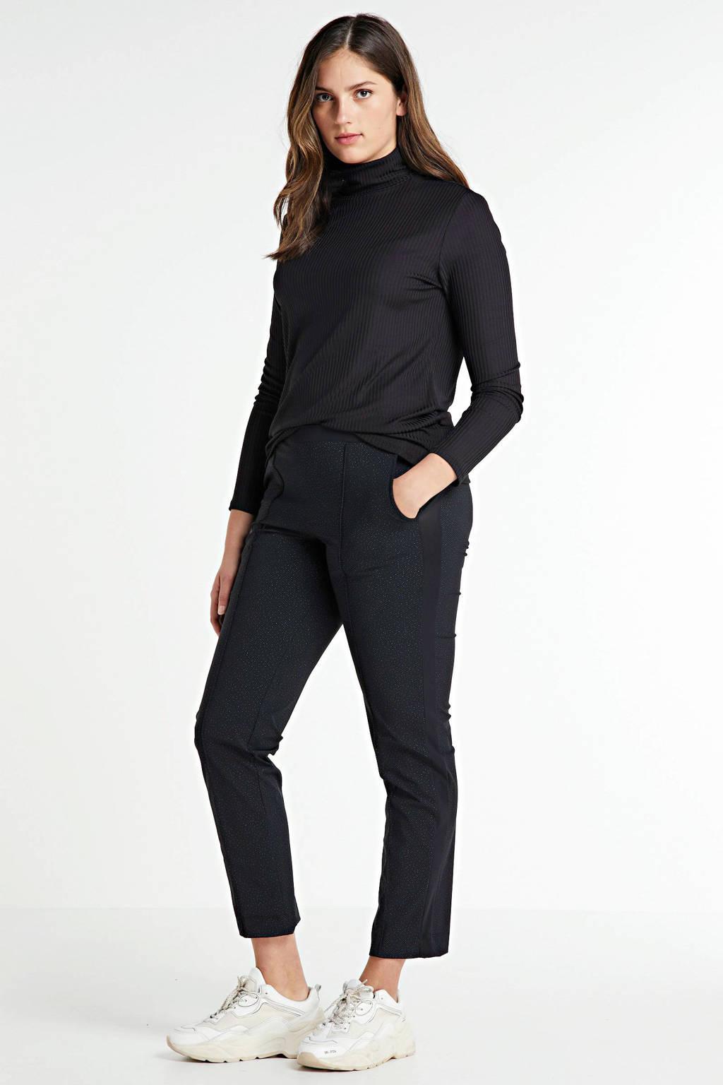 Plus Basics broek van travelstof met zijstreep zwart, Zwart