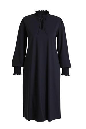 jurk in travel kwaliteit met ruches donkerblauw