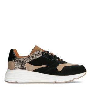 suède sneakers zwart/cheetaprint