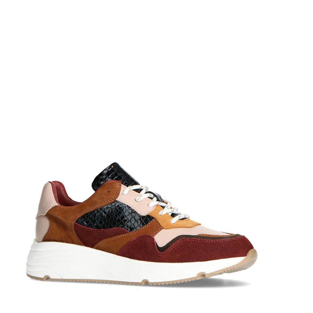 Manfield   suède sneakers bordeauxrood, Bordeauxrood