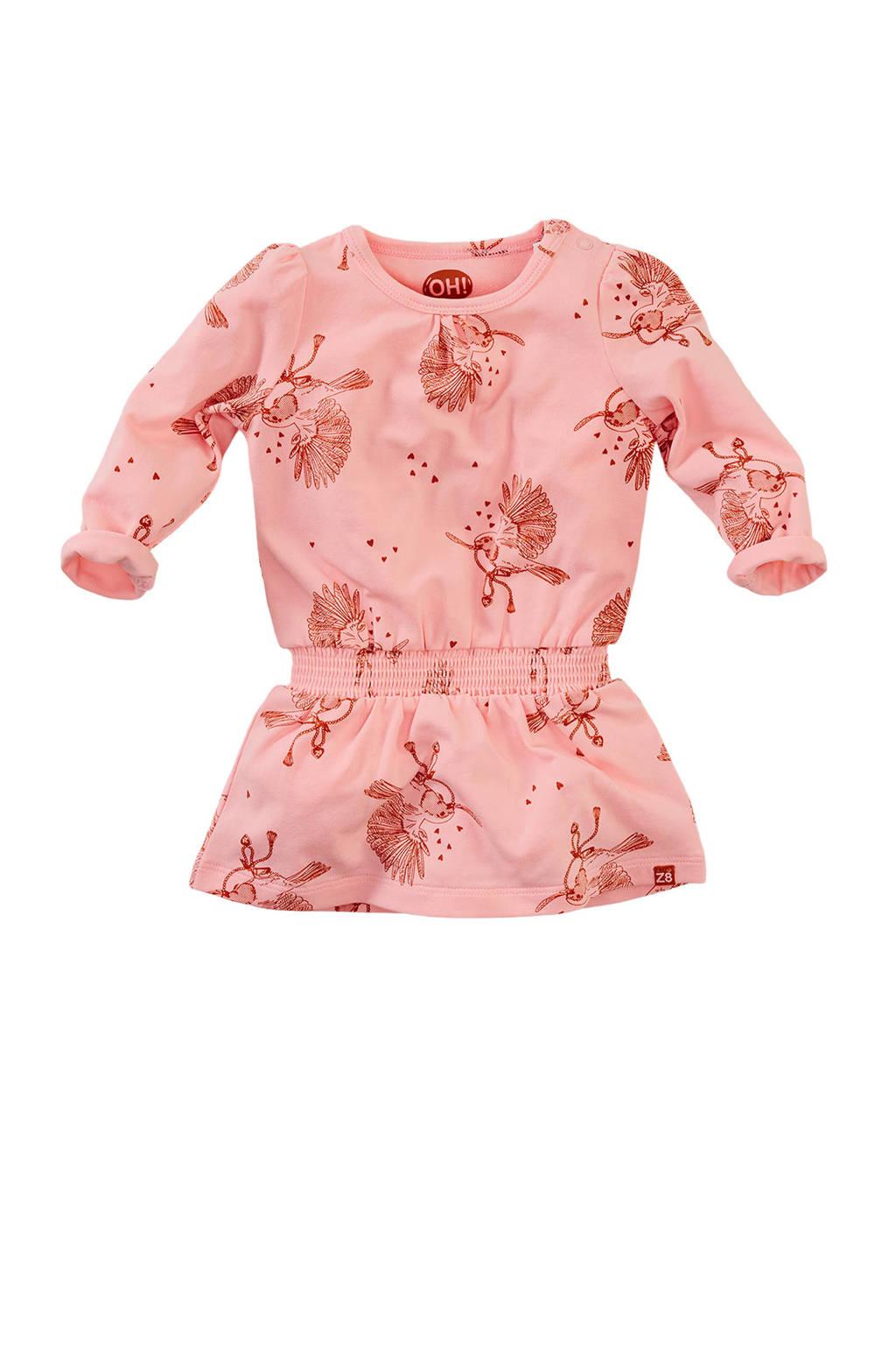 Z8 jersey jurk Long beach met all over print lichtroze/roestbruin, Lichtroze/roestbruin
