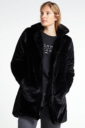 imitatiebont coat Marjo zwart