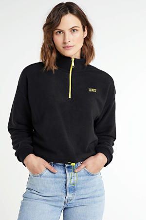 regular fit sweater met logo zwart