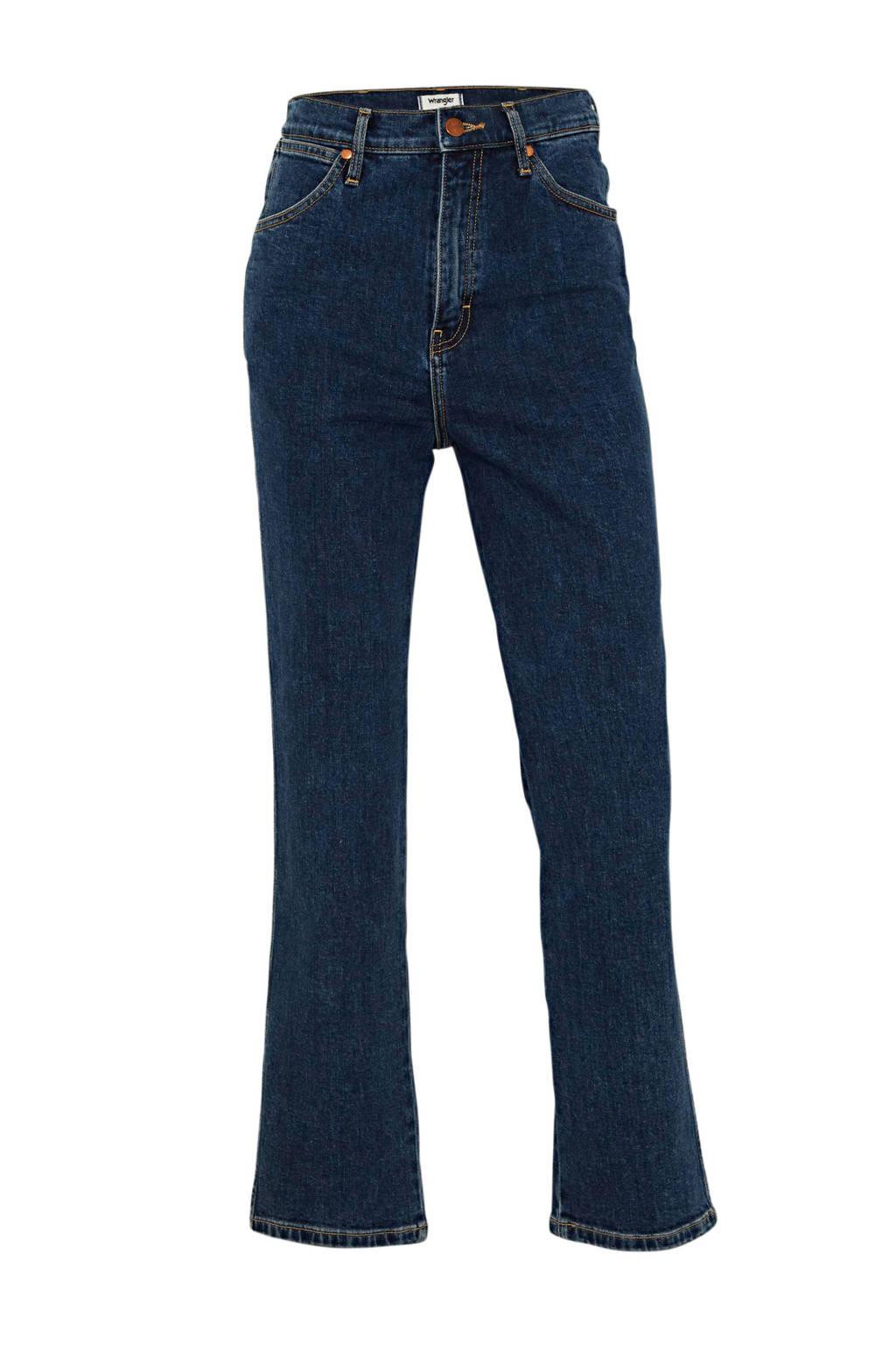 Wrangler high waist straight fit jeans dark denim, Dark denim