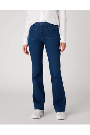 high waist flared jeans deep water