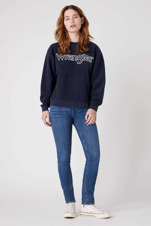 Wrangler sweater met logo donkerblauw, Donkerblauw